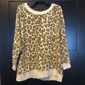 Free People Leopard Print Sweatshirt Sz S